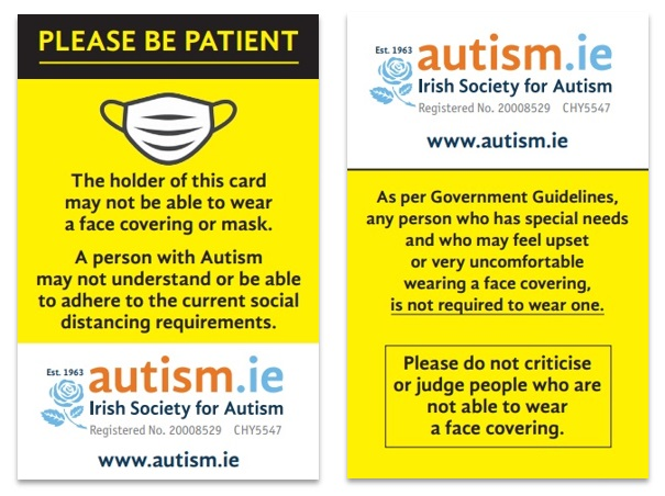 Autism Face Mask Card